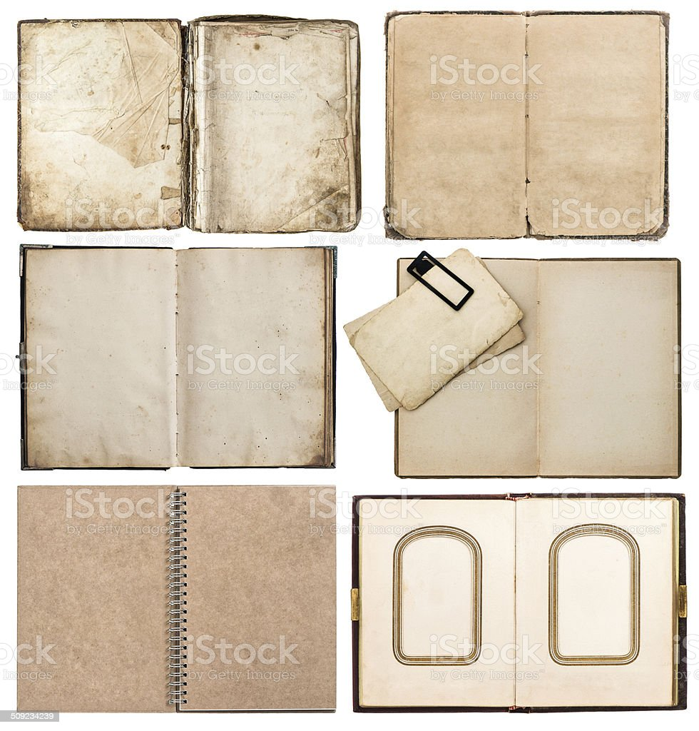 old books with aged paper pages isolated on white stock photo