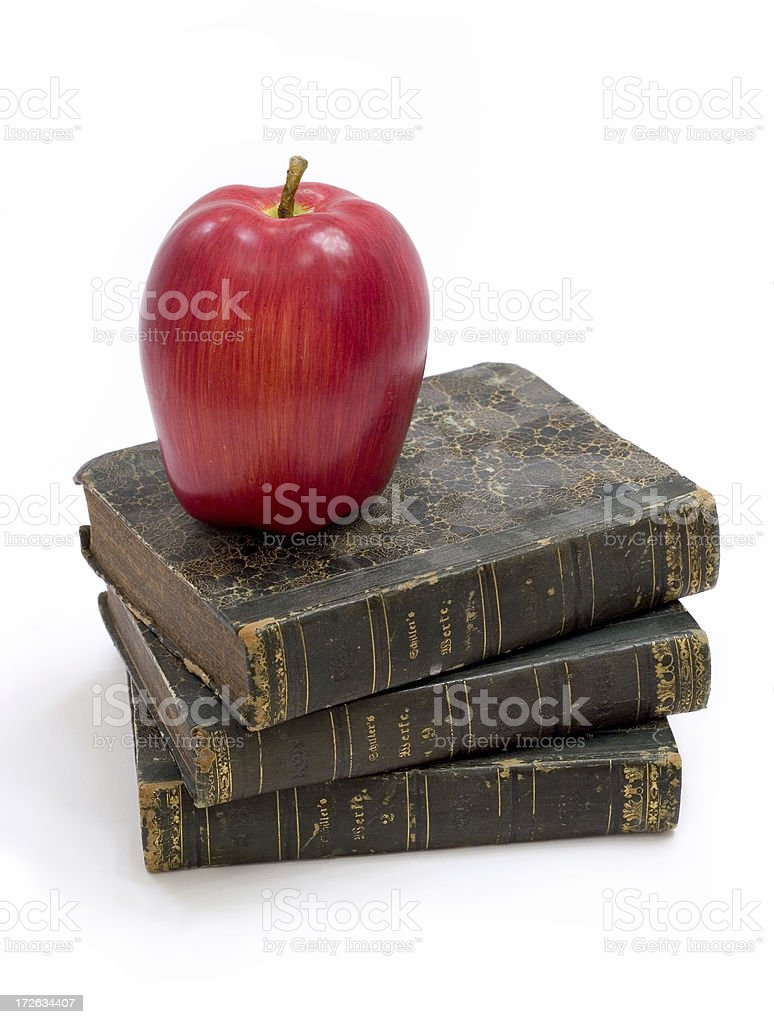 Old Books with Apple royalty-free stock photo