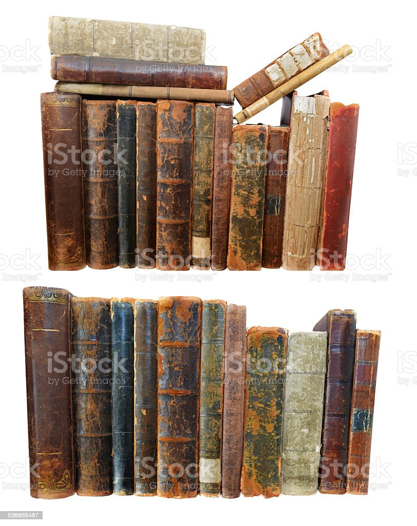 Old books with damaged hardcovers stock photo