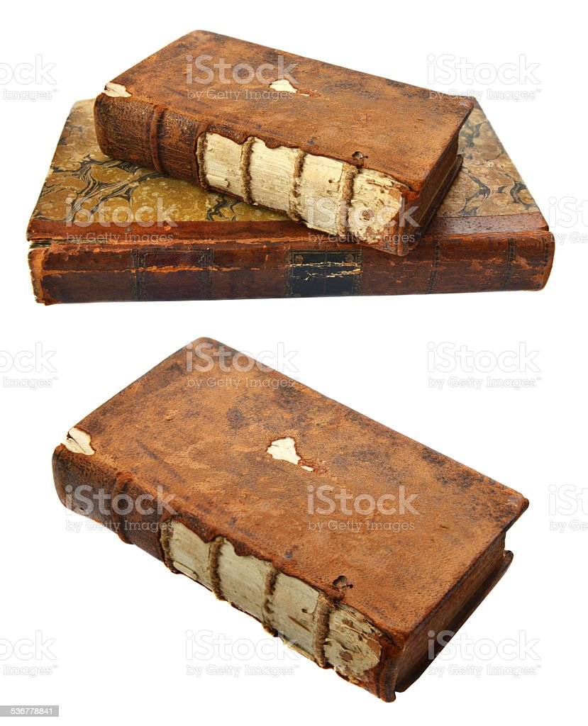 Old books with torn covers stock photo