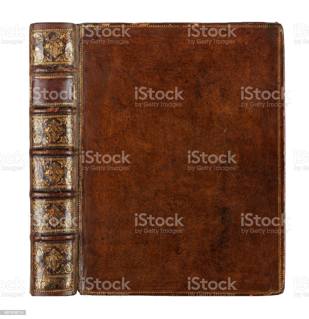 old books with vintage bindings and beautiful gilded leather book covers stock photo