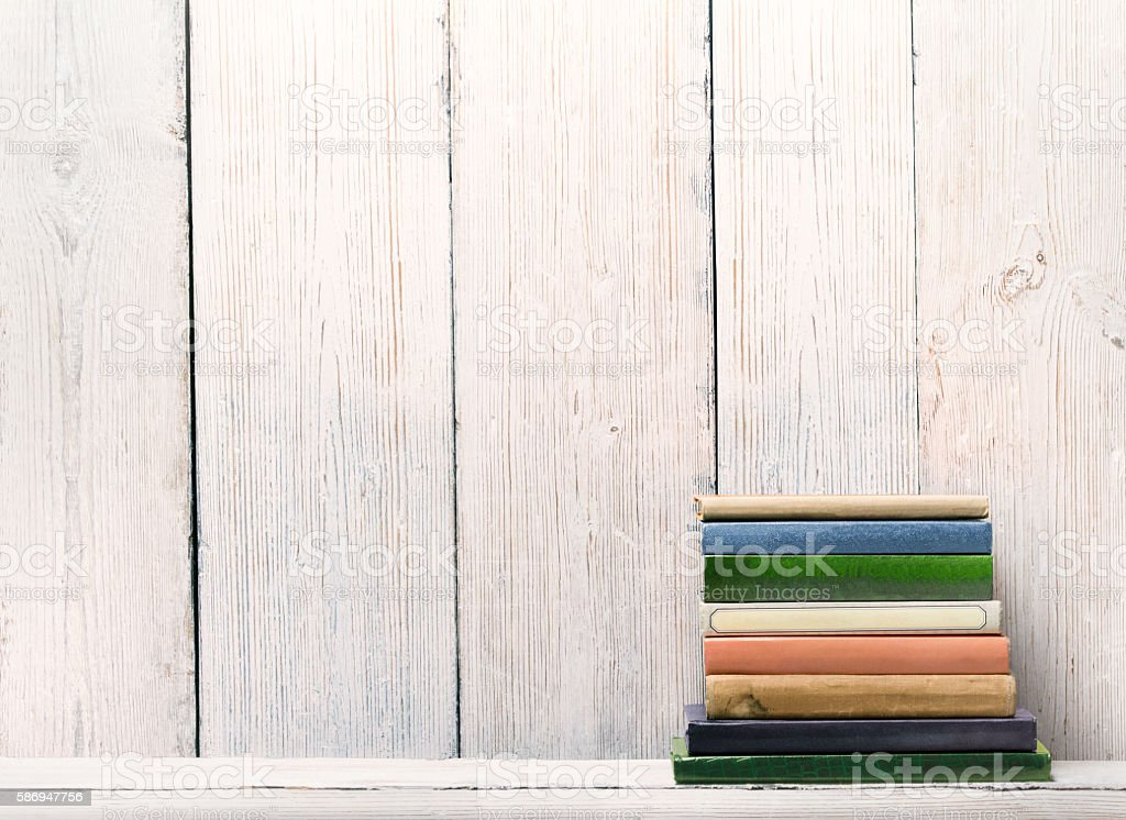 Old Books Wood Shelf Spine Cover White Wooden Wall Background Royalty Free Stock Photo