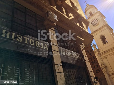 Buenos Aires, Argentina - November 18, 2018:  View of the facade of 'La libreria de Avila', a book store selling vintage and old collectible books next to the St. Ignatius Church in old area of the city. Saint Ignatius is the oldest church preserved in Buenos Aires
