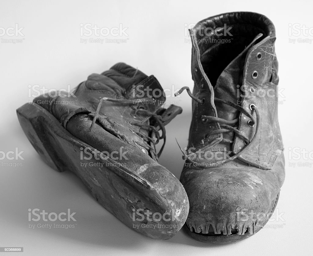 old boots black and white royalty-free stock photo