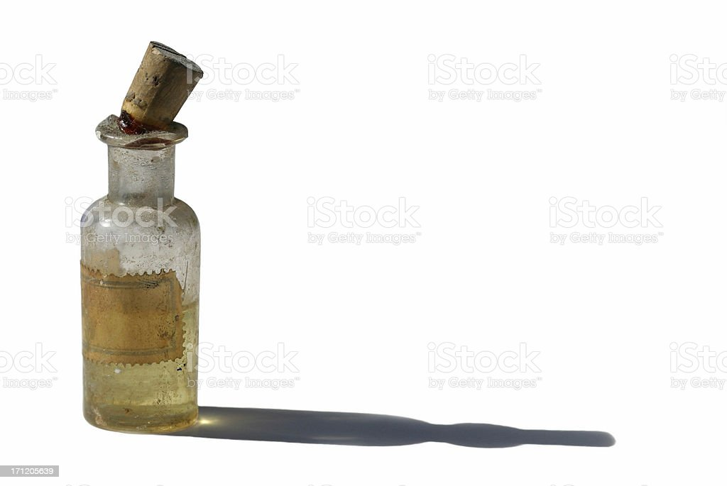Old Bottle With Anise Oil On White royalty-free stock photo