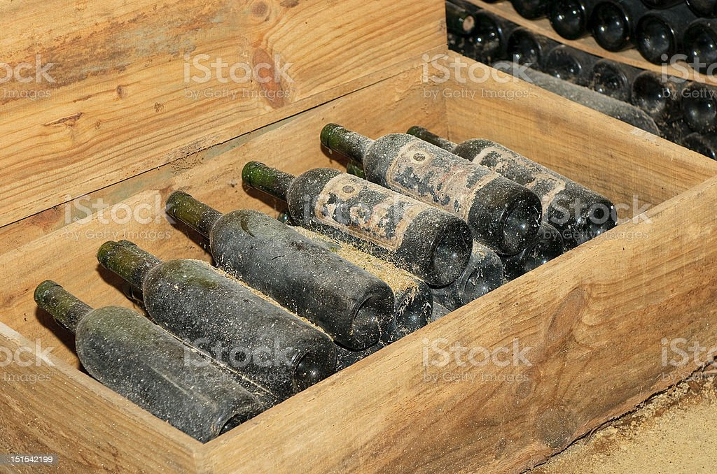 old bottles in wine cellar royalty-free stock photo