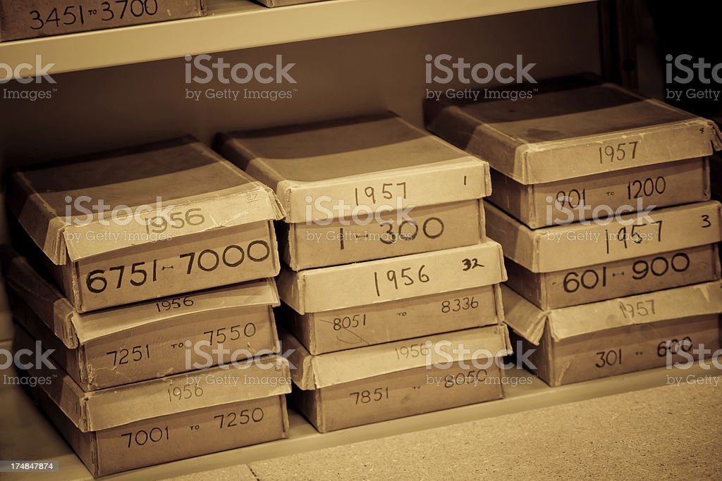 old Boxes in a Archive royalty-free stock photo