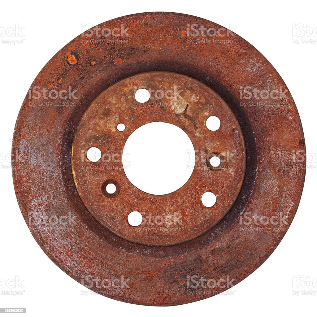 Old brake disc isolated stock photo