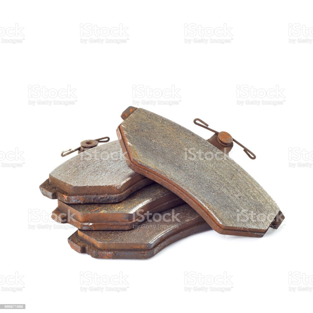 Old brake pads stock photo
