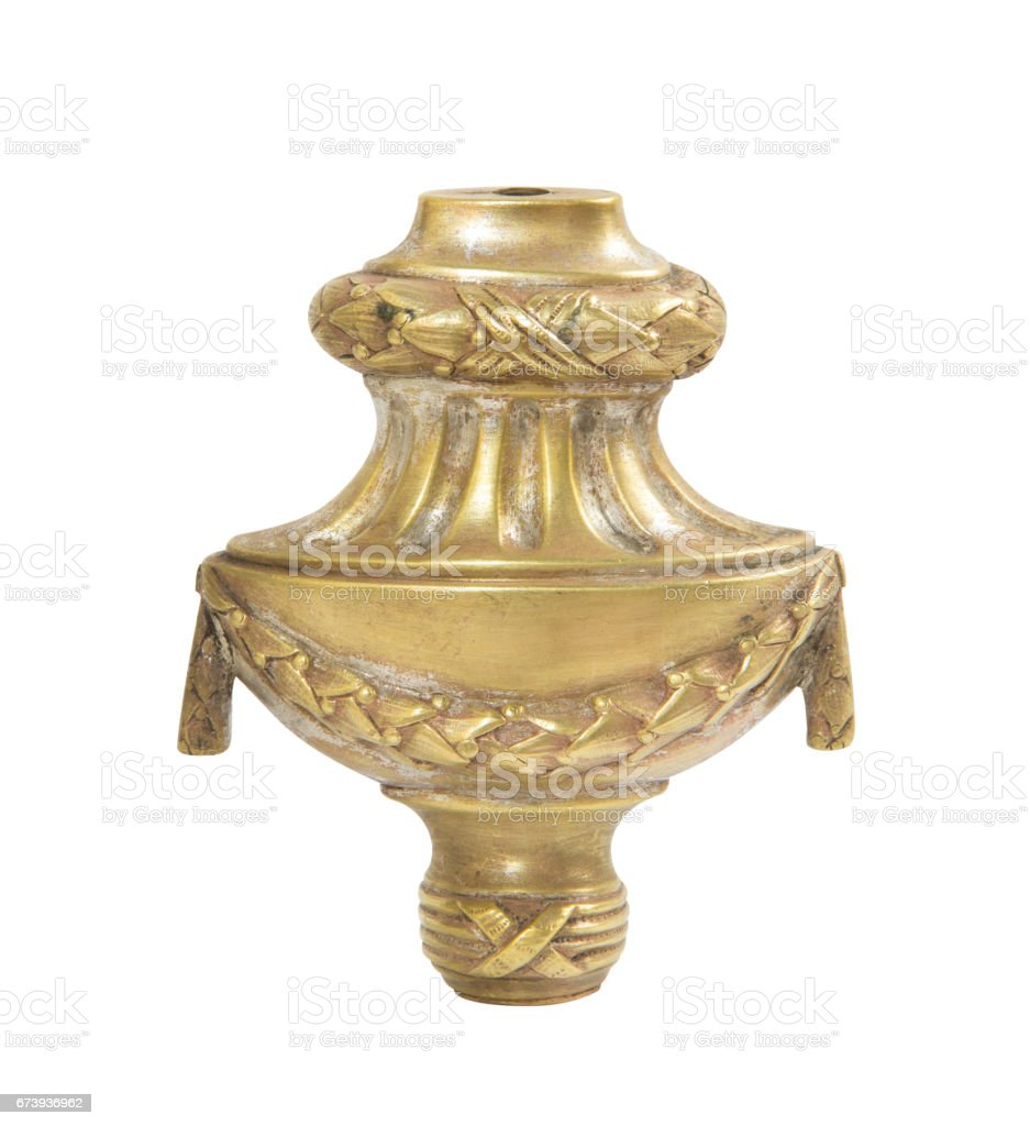 Old brass candle holder on white background foto de stock royalty-free
