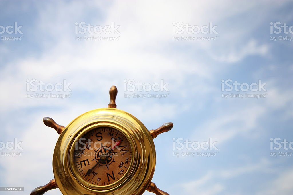 Old brass compass stock photo