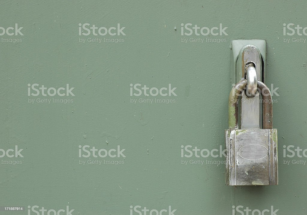 Old Brass Padlock with copy space stock photo