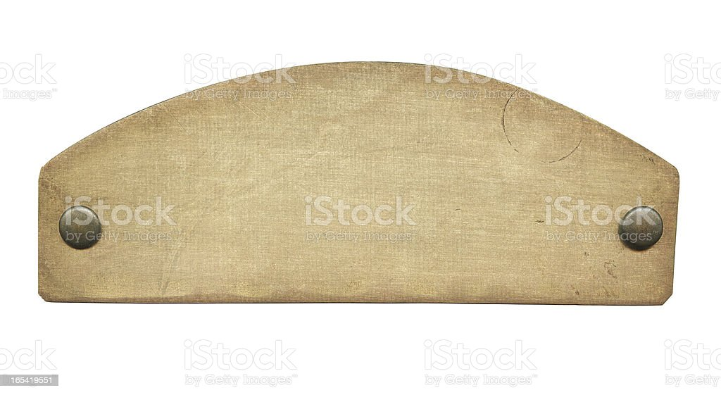 Old brass plate stock photo