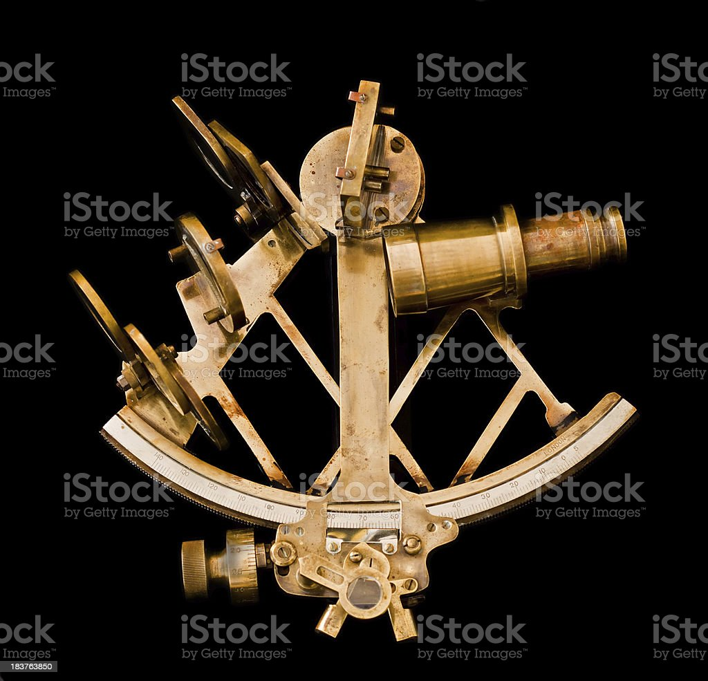 old brass sextant stock photo
