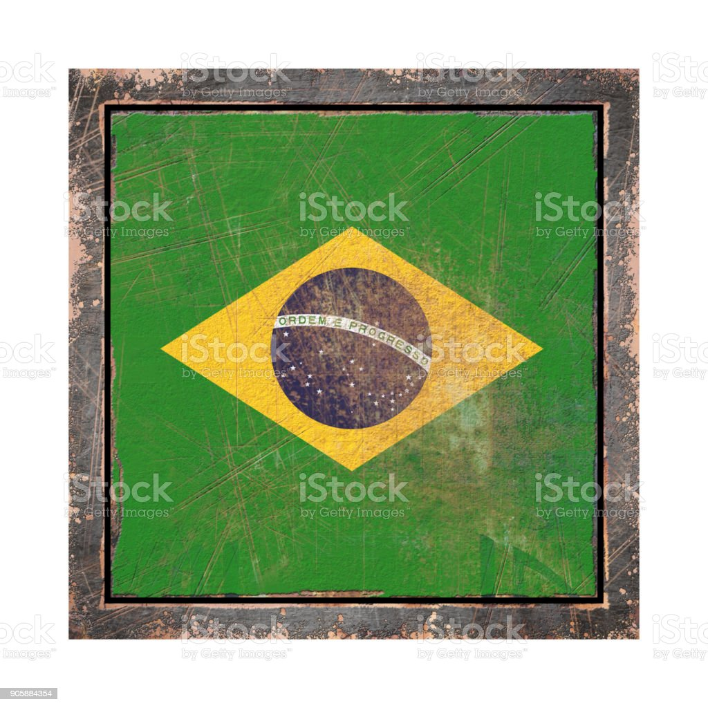 Old Brazil flag stock photo