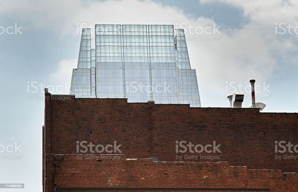 Old Brick and New Glass Buildings royalty-free stock photo