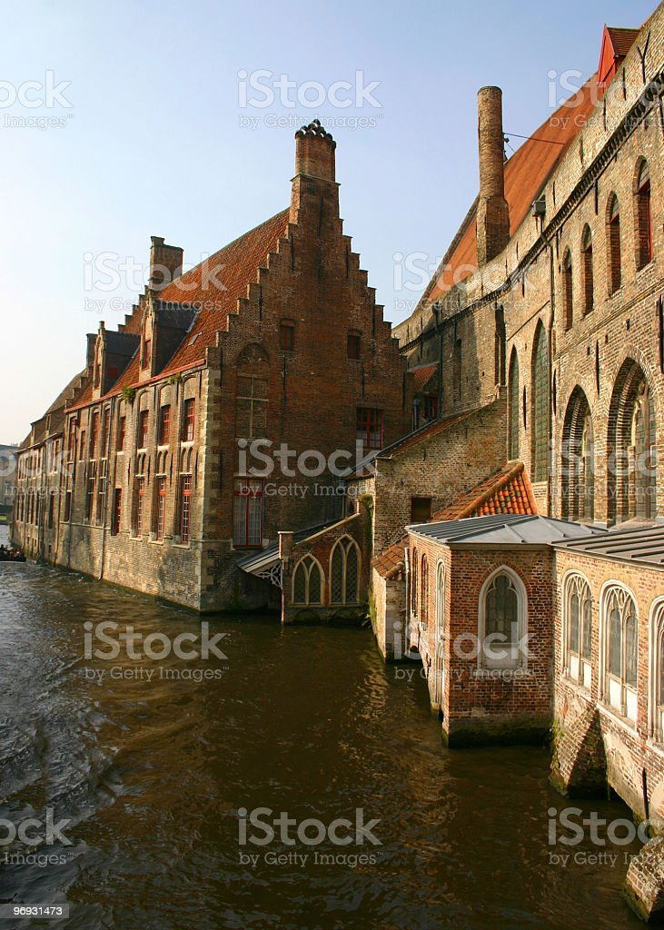 Old brick buildings on canal royalty-free stock photo