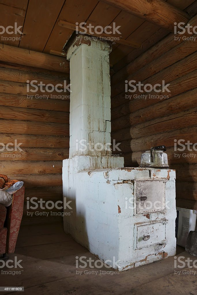 Old brick furnace in a corner of the house stock photo