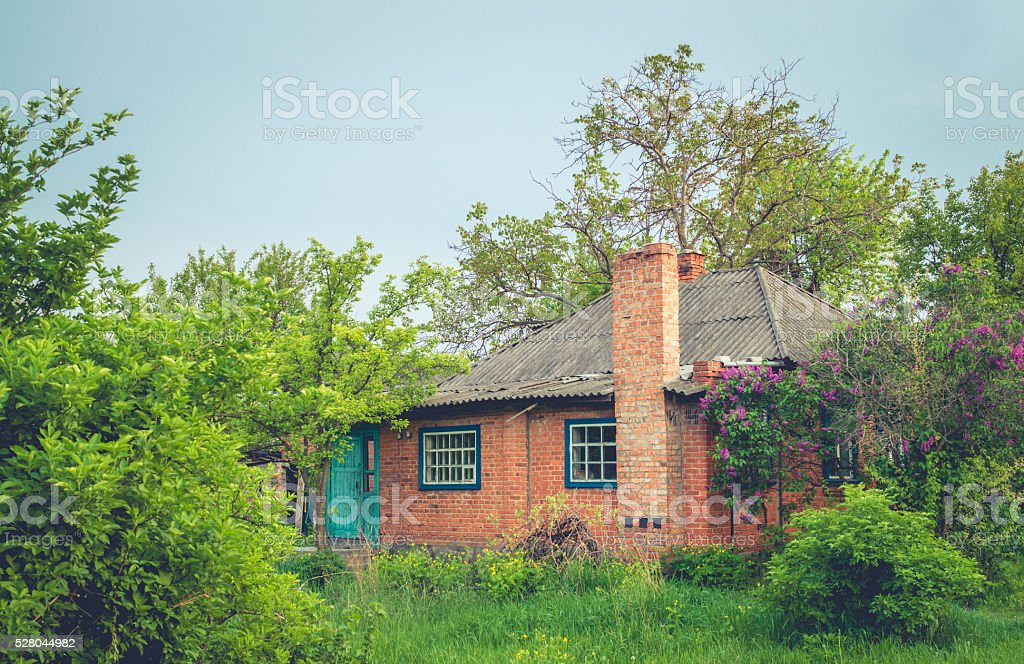 Old brick house stock photo