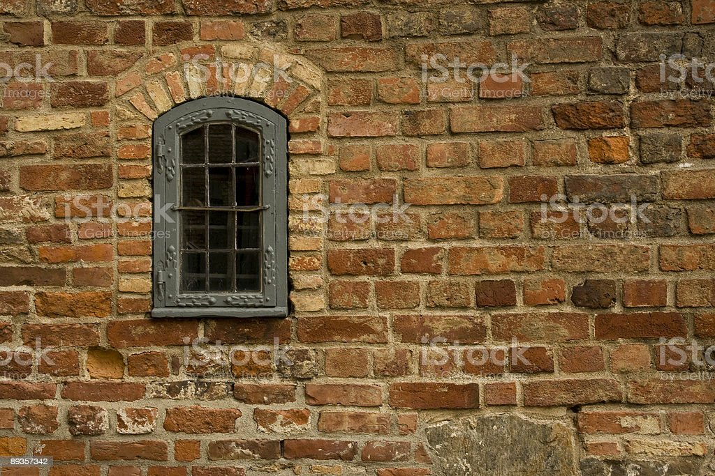 Stara Cegła Dom ściany z jednym oknie zbiór zdjęć royalty-free
