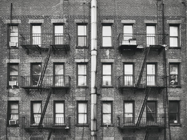 Old brick house with fire escapes, New York, USA. stock photo