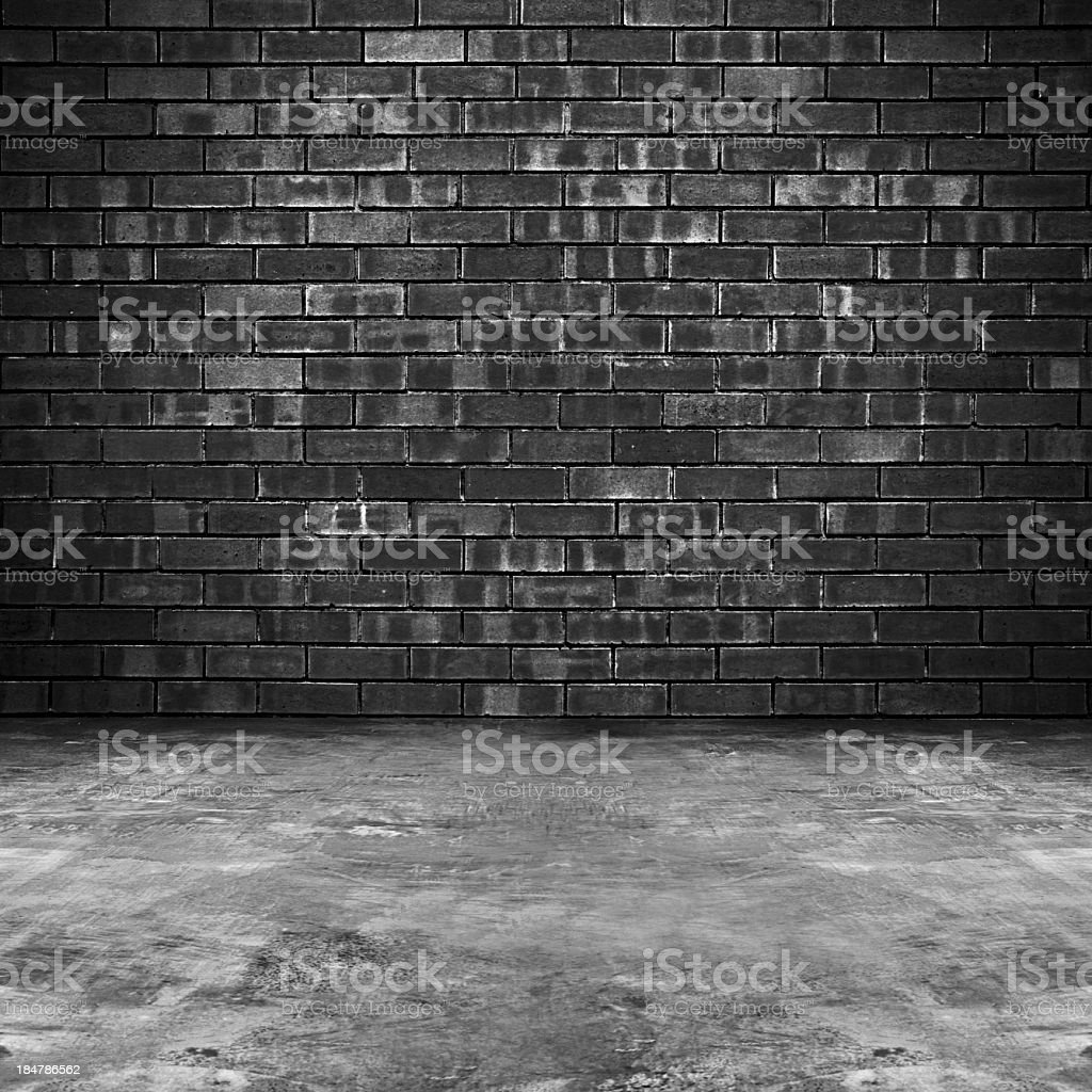 Old brick room background stock photo