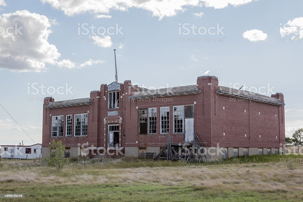 old brick school stock photo