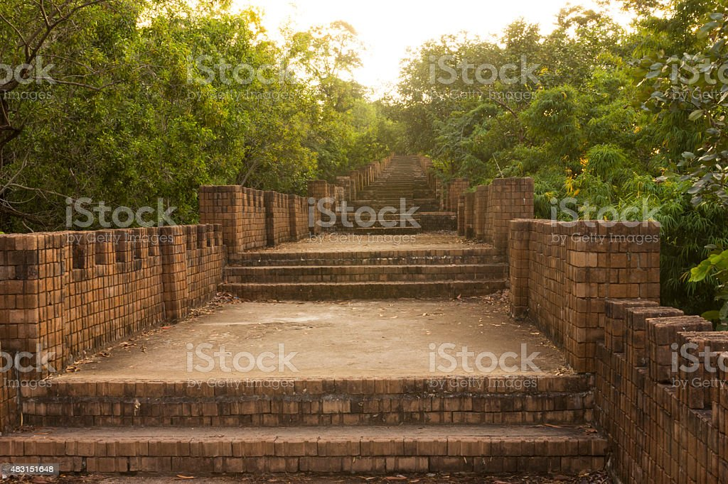 Old brick stairs in the temple stock photo