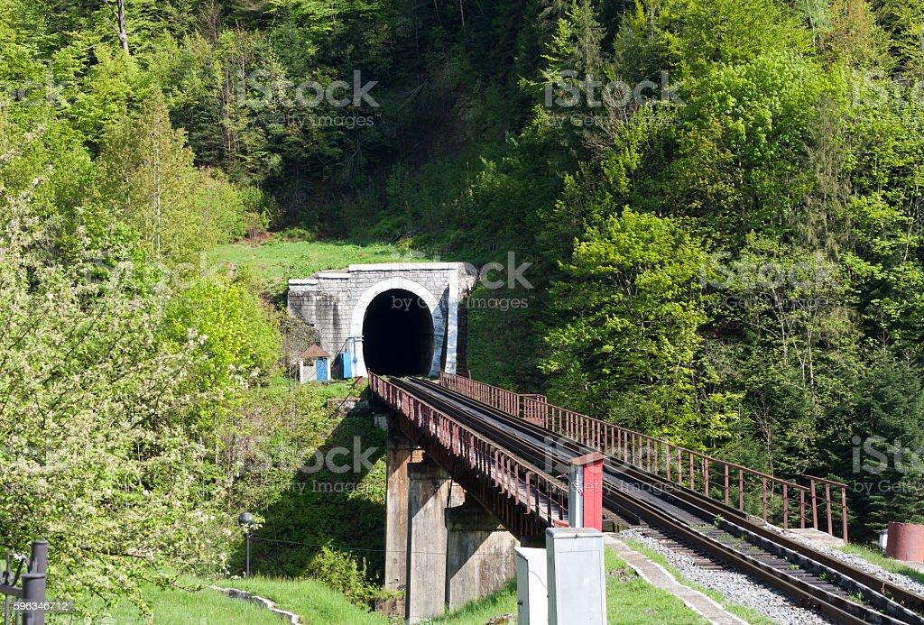 Old brick tunnel in the mountains photo Lizenzfreies stock-foto