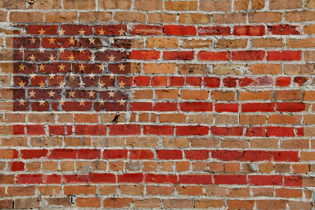 old brick wall american flag painted overlay stars and stripes 2020 usa american election graphic with red blue side panels presentation banner poster invitation flyer illustration background backdrop card stock photo