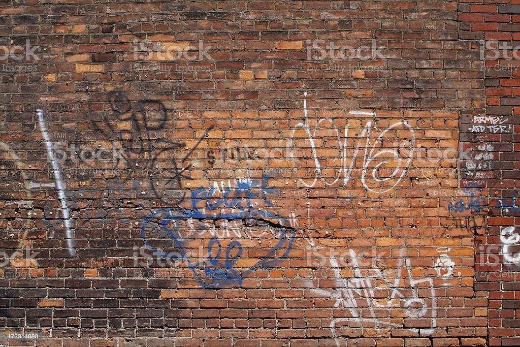 Old Brick Wall and Graffiti stock photo