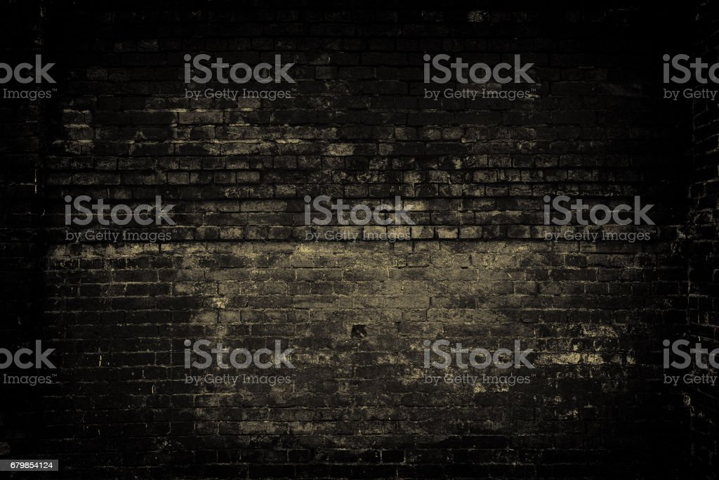 Old brick wall, dark light. Grunge background stock photo