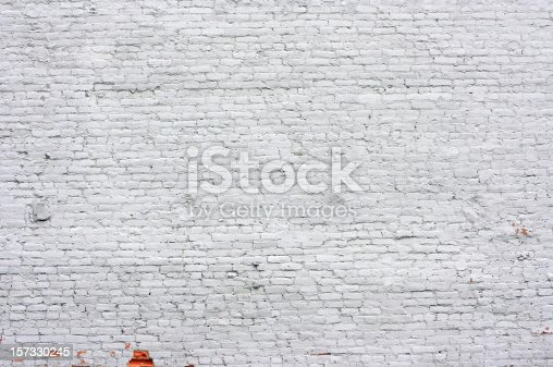 istock Old Brick Wall painted White 157330245