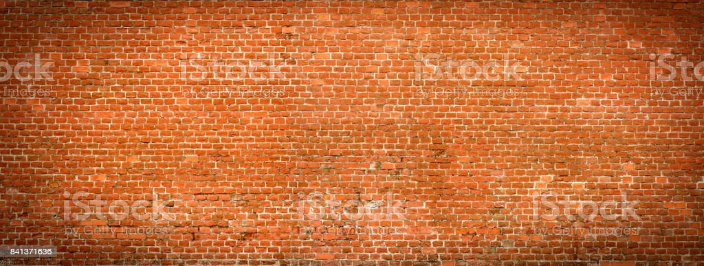 Old Brick wall panoramic view. stock photo