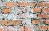 Old dirty brick wall with gray cement mortar closeup. Terracotta grunge stone texture