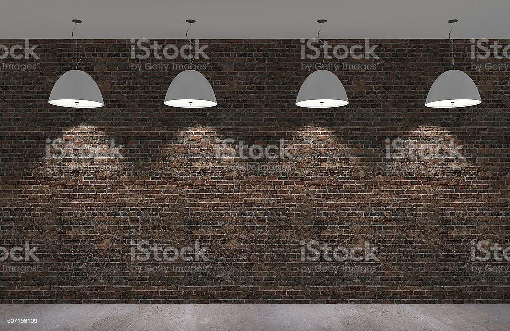 Vieux mur de briques et de béton étage de nuit, en 3d - Photo