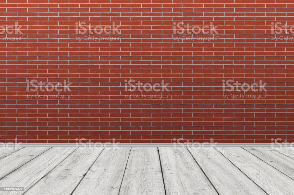 Old brick wall with old wooden floor. Old Room Background. stock photo