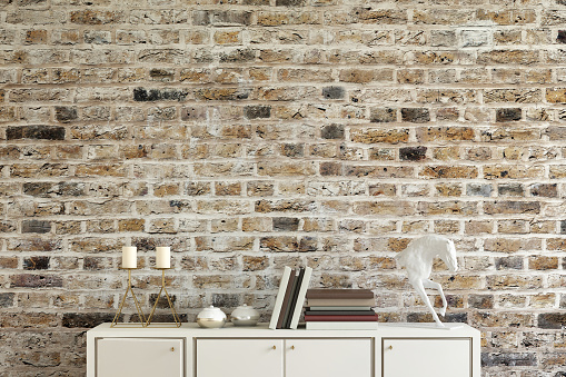 istock Old brick wall with shelf template 801744194