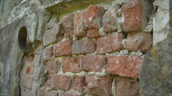 Old brickwork. Brick laying of the 18th century. Buildings made of 18th-century brick. Old brickwork at the 18th century building