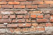 Old brickwork, sometimes damaged by time