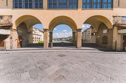 Old Bridge arches in Florence during Covid-19 lockdown