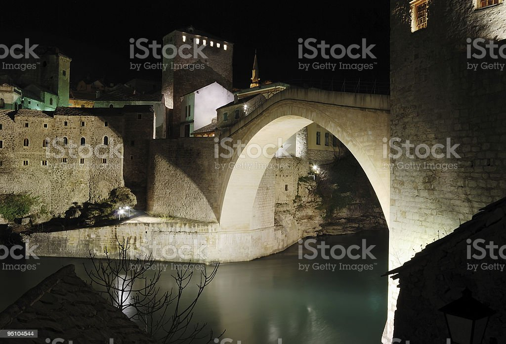 Old Bridge by night royalty-free stock photo