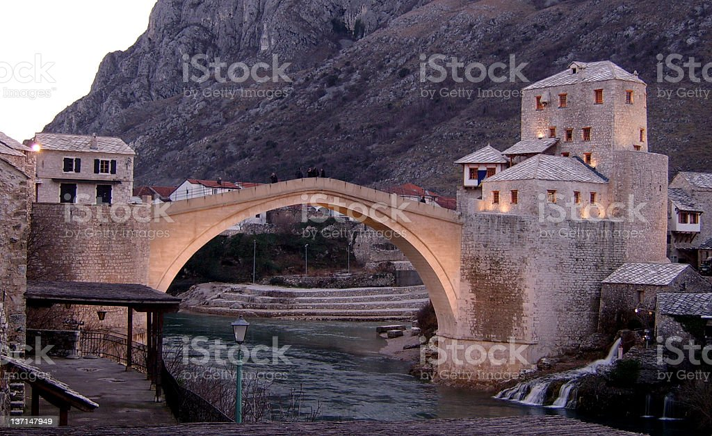 Old bridge dusk scene royalty-free stock photo