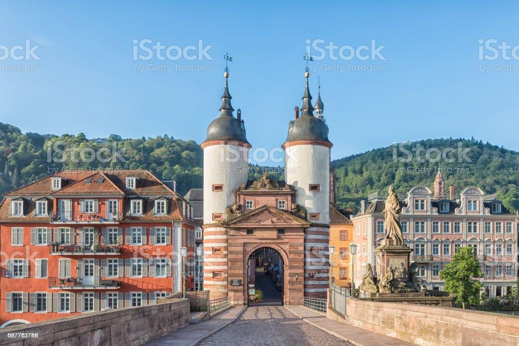 Old Bridge Gate in Heidelberg, Germany stock photo