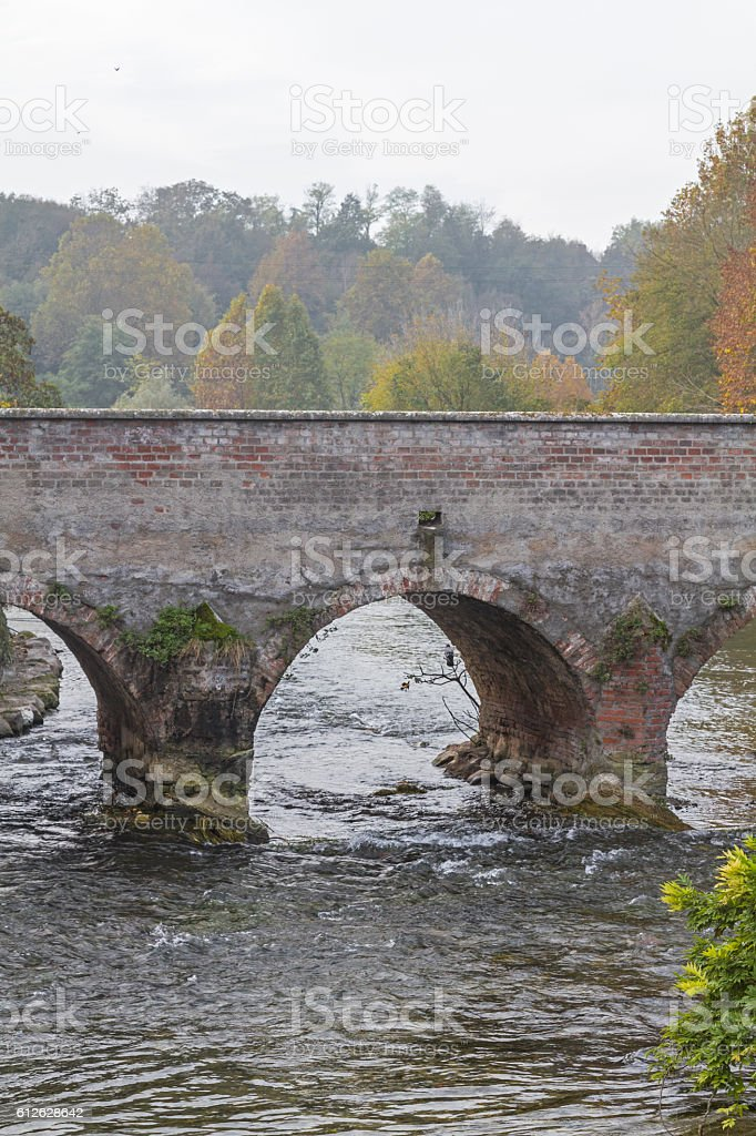 Old bridge in Borghetto stock photo