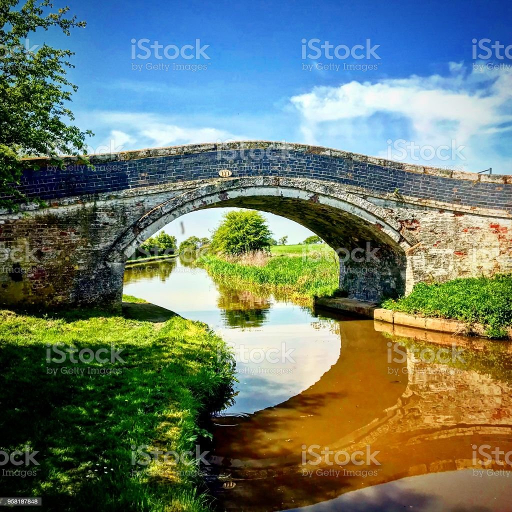 Old Bridge in Cheshire Countryside stock photo