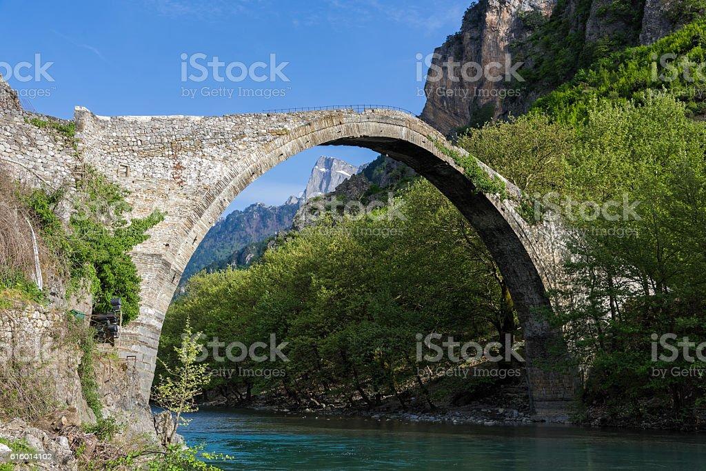 Old bridge in Greece stock photo