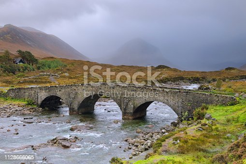 The Old stone bridge of Sligachan with the rocky mountains of Cuillin on the background is one of the iconic images of Isle of Skye, in the Scottish Highlands
