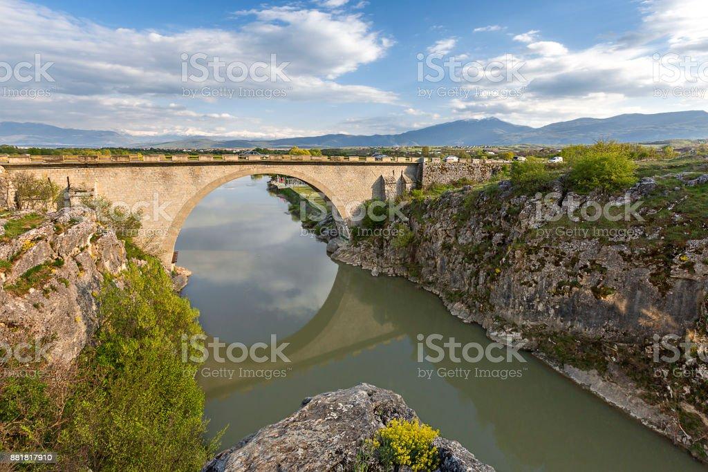 Old bridge in Kosovo. stock photo