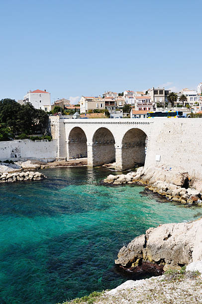 Old bridge in Marseille, France stock photo